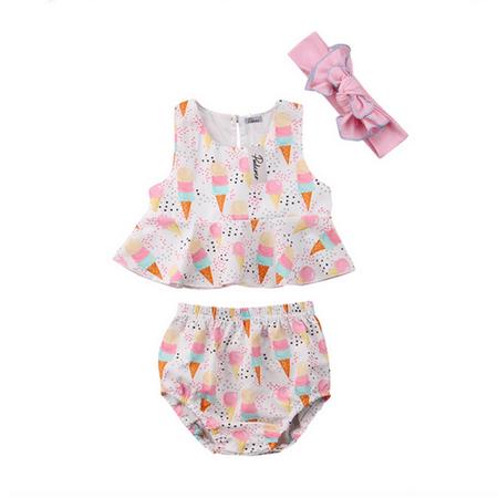 Newborn Baby Girl Ice Cream Ruffle Vest Tops Bottom Pants With Headband Outfit