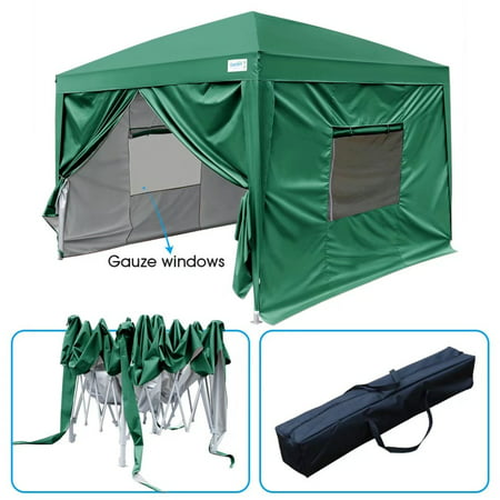 Upgraded Quictent 10x10 EZ Pop Up Canopy Gazebo Party Tent  with Mesh Windows and Sidewalls 100% Waterproof-7 Colors (Green)