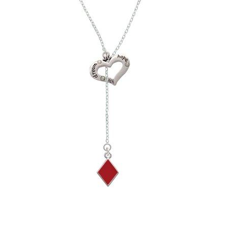 Hope Diamond Necklace - Card Suit - Diamond - Dream Hope Wish Heart Lariat Necklace
