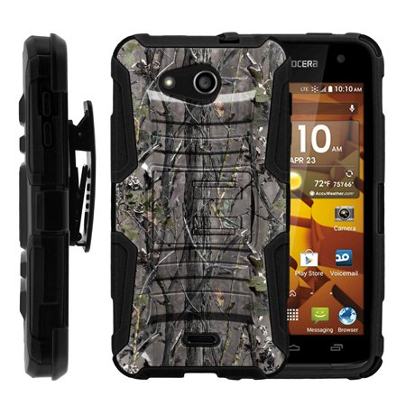 Kyocera Hydro Wave Case | Kyocera C6740 Case [ Clip Armor ] Rugged Case with Built in Kicsktand and Holster - Skinny Tree Branch Camouflage