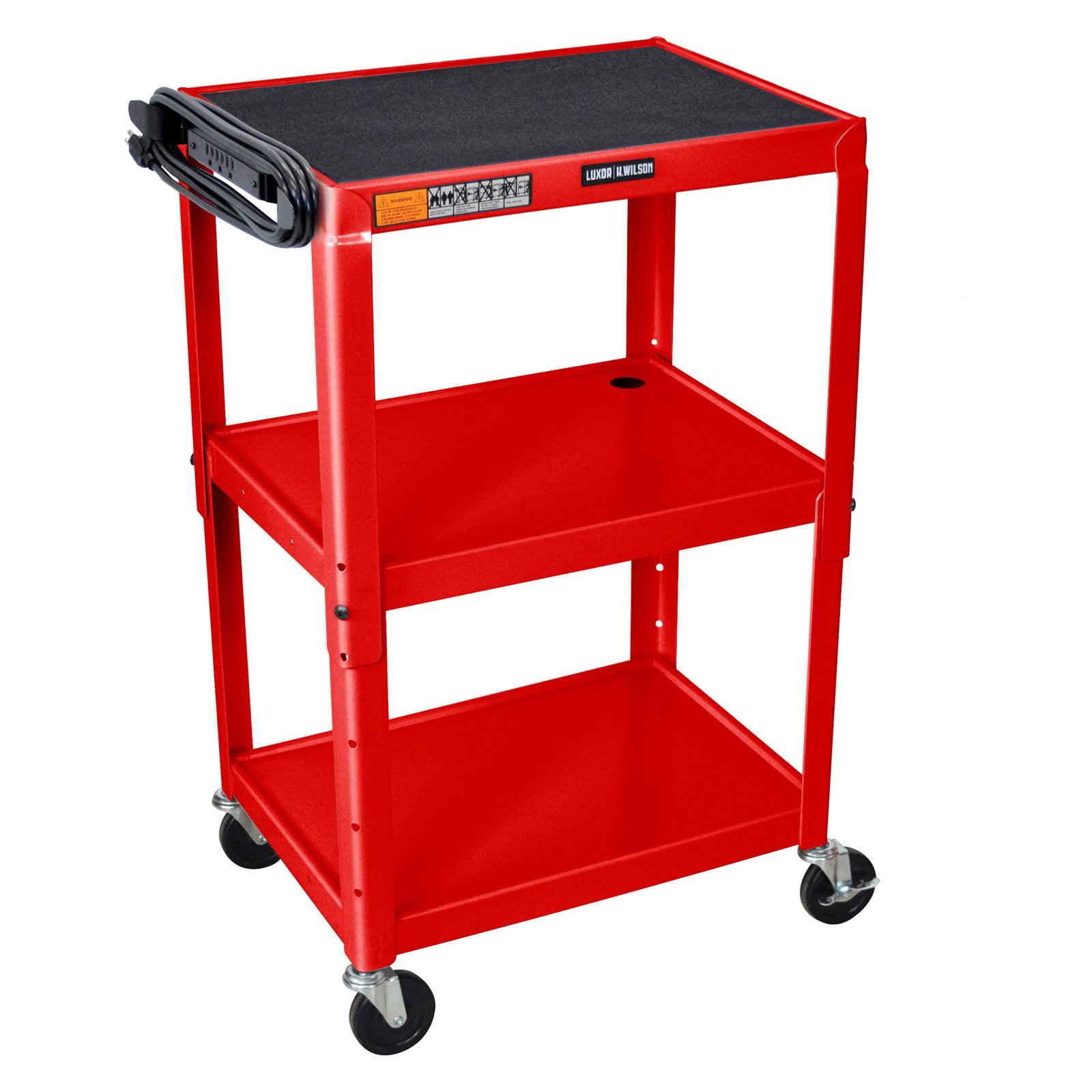 Luxor 3 Shelf Adjustable Height Cart