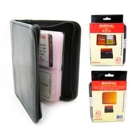 2 Business Card Holder Credit Card Id Genuine Leather Zipper Black Book Wallet ! ()