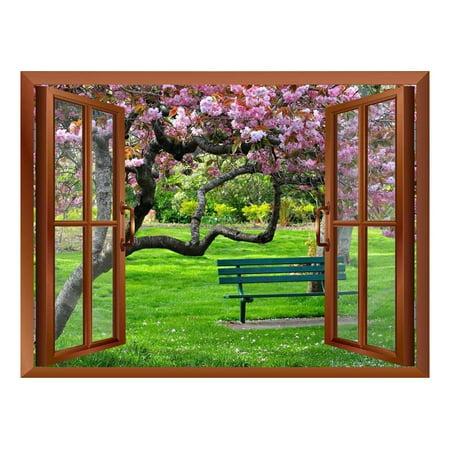 wall26 Cherry Blossom Inside a Window Removable Wall Sticker Wall Mur