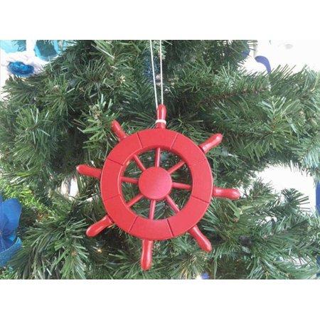 Red Decorative Ship Wheel Christmas Tree Ornament 6
