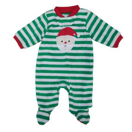 Carters Infant Boys Santa Claus Striped Fleece Blanket Sleeper Sleep & Play