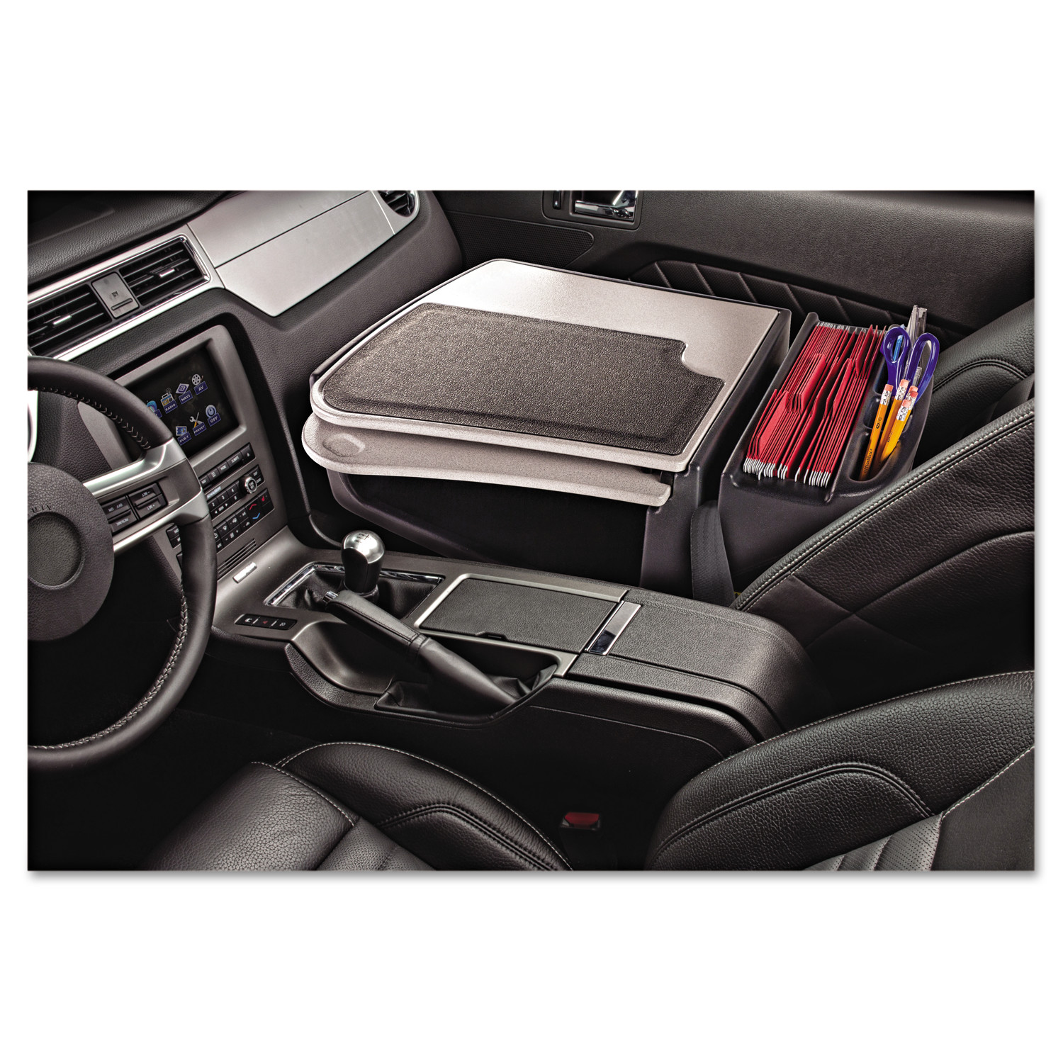 AutoExec GripMaster 01 Auto Desk w/Retractable Writing Surface & Supply Organizer, Gray