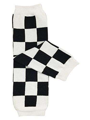ALLYDREW Funky Prints & Patterns Baby Leg Warmer & Toddler Leg Warmer for Boys & Girls, Black & White Checkers