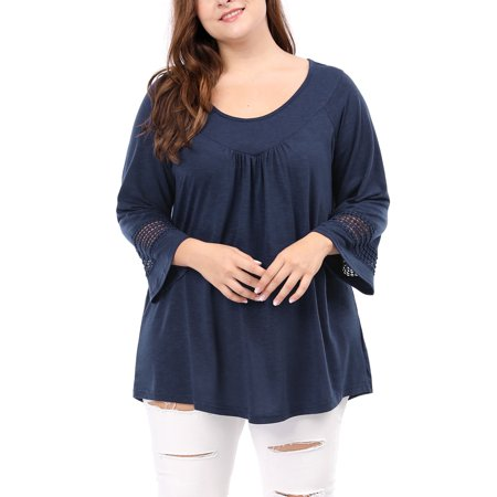 - Women's Plus Size Kimono Sleeves Crochet Panel Ruched Front Top Blouse Shirt Blue 3X