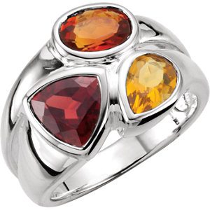 Sterling Silver Mozambique Garnet, Madeira Citrine, & Citrine Ring Size 6 by