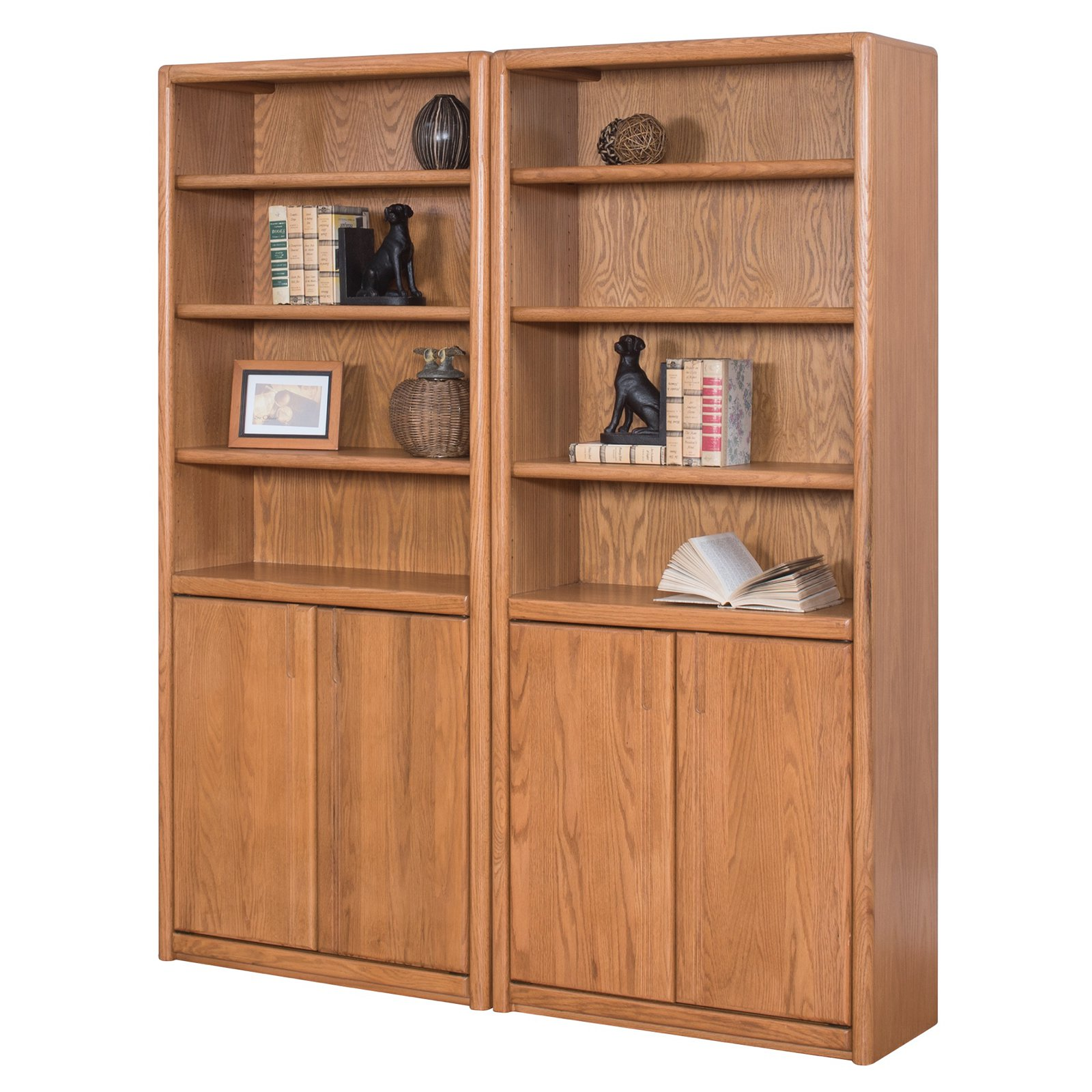 Martin Furniture Contemporary Wall Bookcase with Doors - Oak