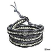 Aeravida Handmade Braided Leather Triple Wrap Bracelet (Thailand)