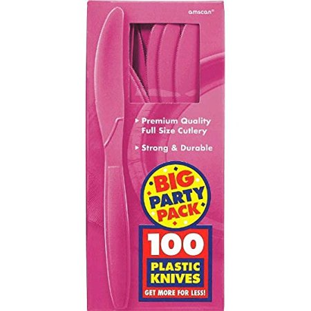Amscan Amscan Big Party Pack Bright Pink Premium Plastic Knives (100pc Set) Party Supplies](Knife Party Halloween Set Times)