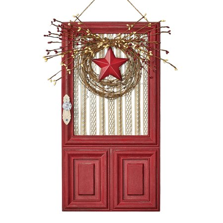 Rustic Red Country Star Wreath and Door Wall Art with Red and White Berries](Summer Door Wreath)