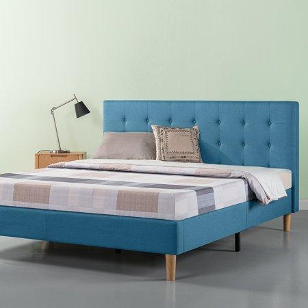 Zinus Ibidun Blue Upholstered Tufted Platform Bed King