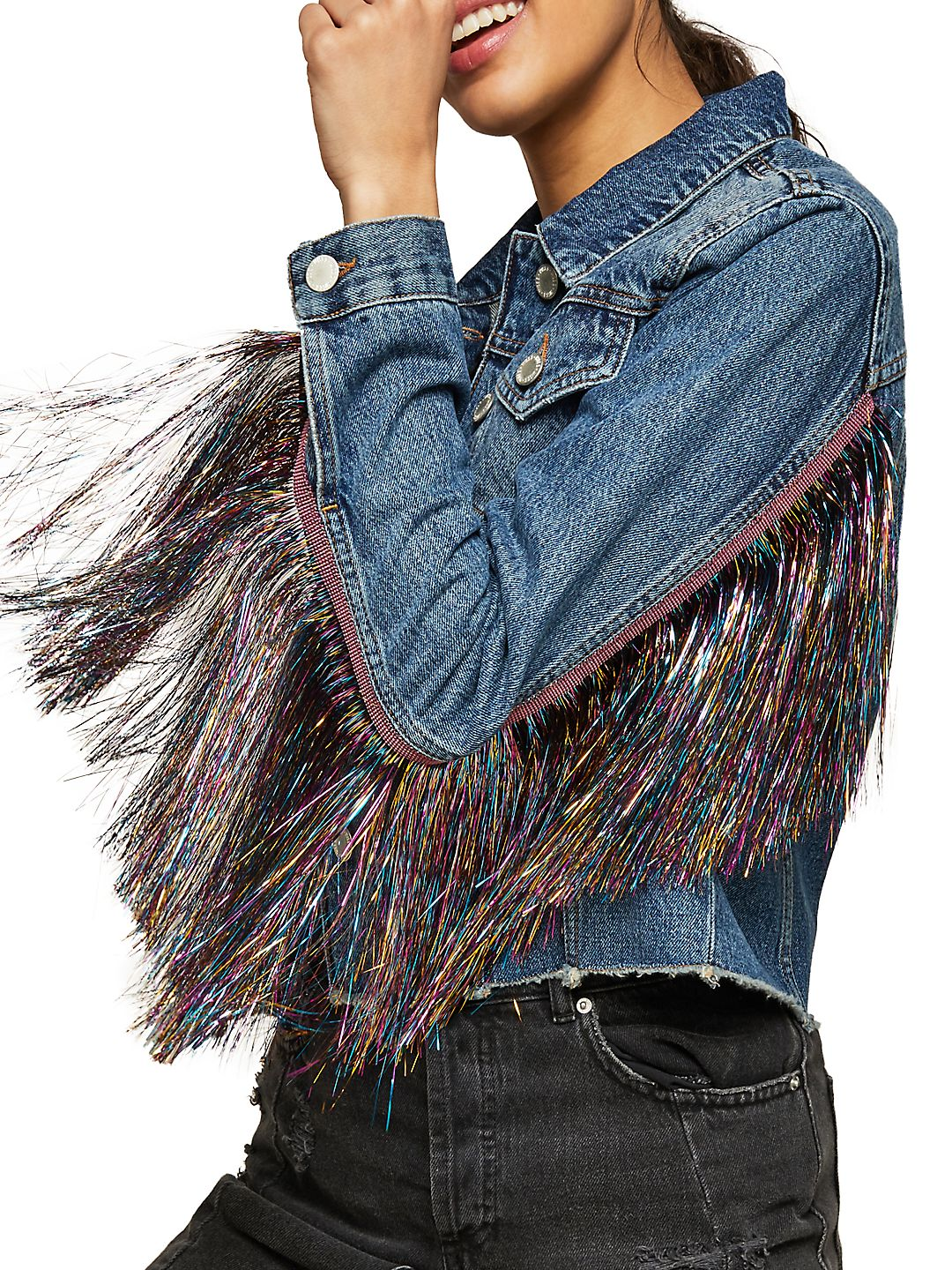 Frayed Tassel Denim Jacket