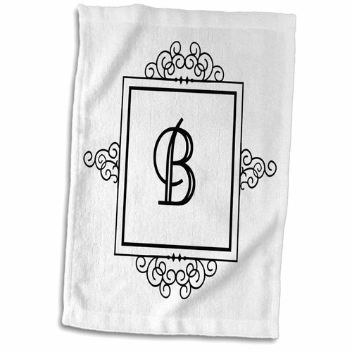 Symple Stuff Hengrove Letter B Personal Monogrammed Fancy and Typography Elegant Hand Towel