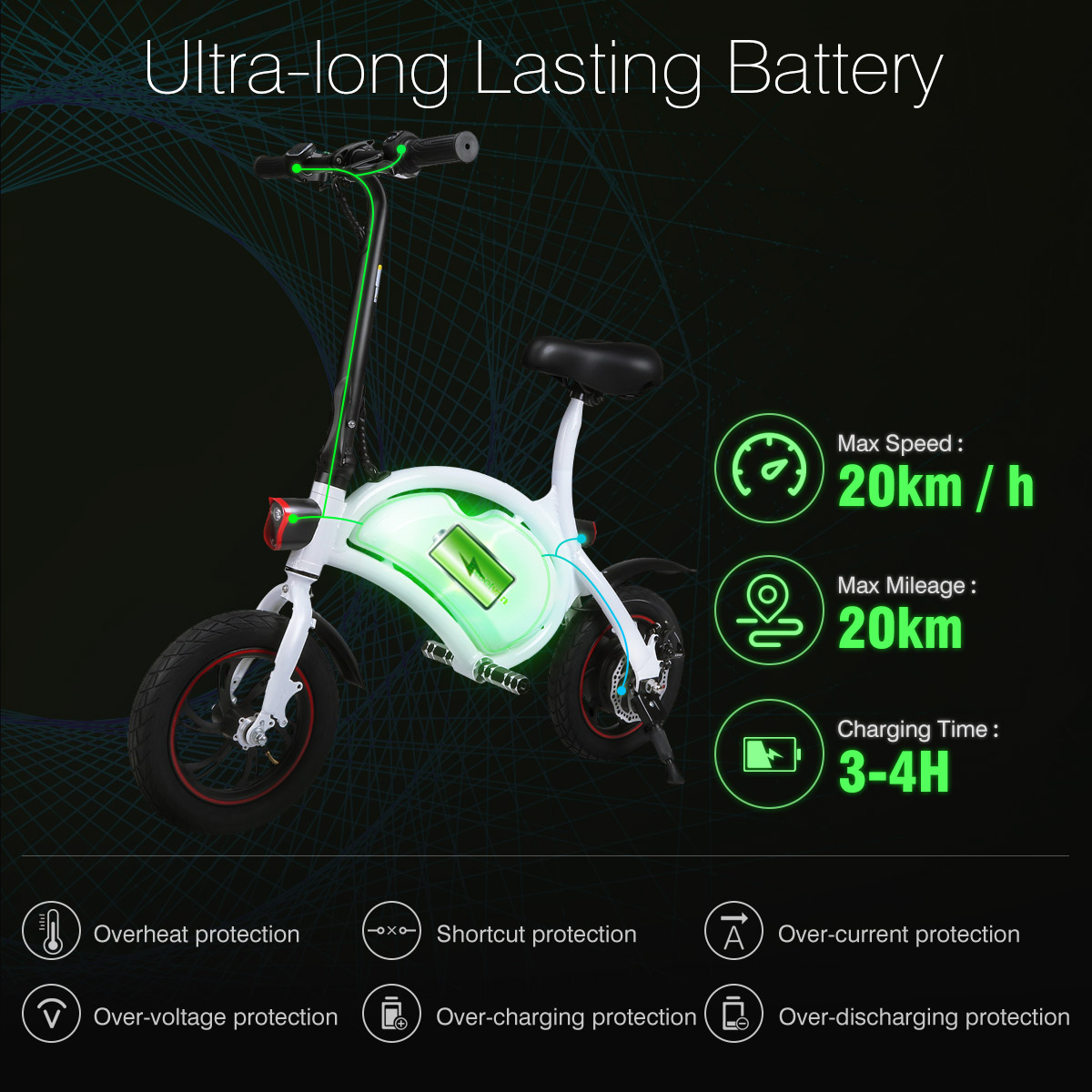 250W Folding Electric Bicycle E-Bike Smart Cruise Mode Sensor LED Light 20km//h
