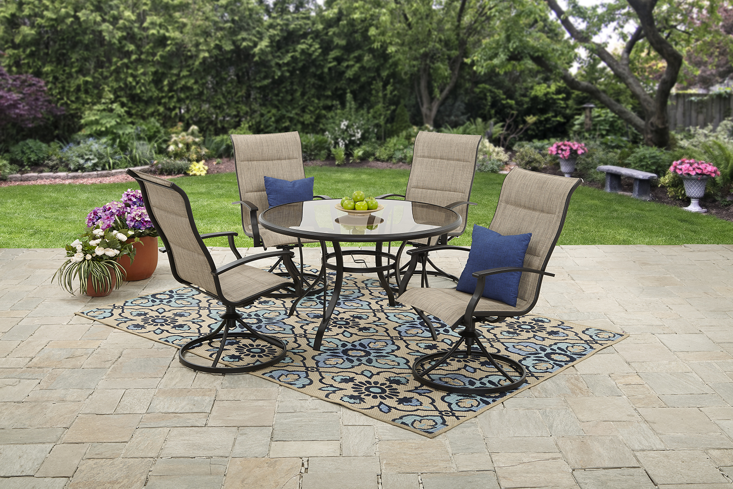 Click here to buy Mainstays Highland Knolls Outdoor Patio Dining Room Set Tan by Courtyard Creations Inc..