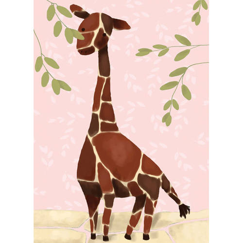 Oopsy Daisy's Gillespie the Giraffe Pink Canvas Wall Art, -