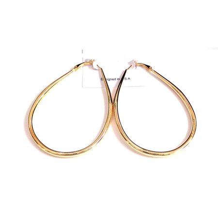 Teardrop Hoop Earrings Plated Gold 3 inch Long 2.5 in W