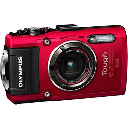 Olympus TG-4 16 MP Waterproof Digital Camera with 3-Inch LCD (Red) - International Version
