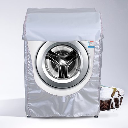 WALFRONT Silver Washing Machine Cover Waterproof Sunscreen Cover Front Load Washer Dryer Coat Protection, Washer Waterproof