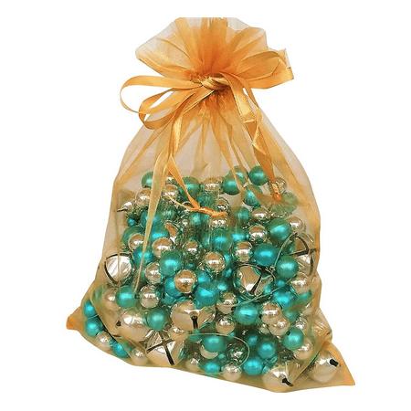 Organza Bags, 10 Gold 8x11 Sheer Fabric Gift - Gold Gift Bags
