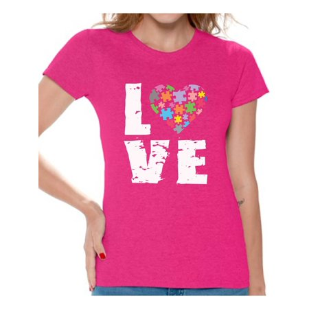 Awkward Styles Women's Love Puzzles Autism Awareness Graphic T-shirt Tops Autistic Support