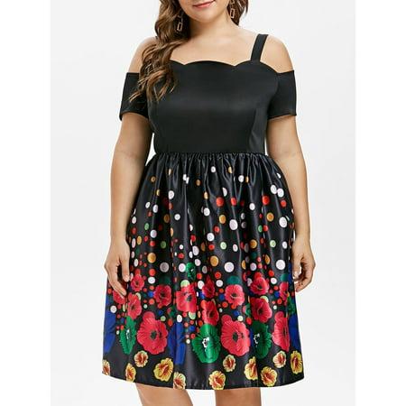 Vintage Style Floral Polka Dot Pattern Cold Shoulder Women Dresses Plus Size