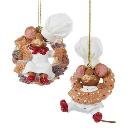 "3.25"" Mouse Boy Chef Glittered Cookie Decorative Christmas Ornament"