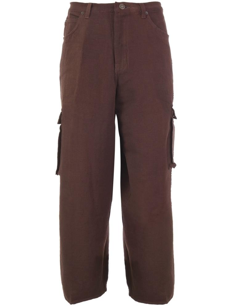 Hand Woven Men'S Cargo Pants - Brown