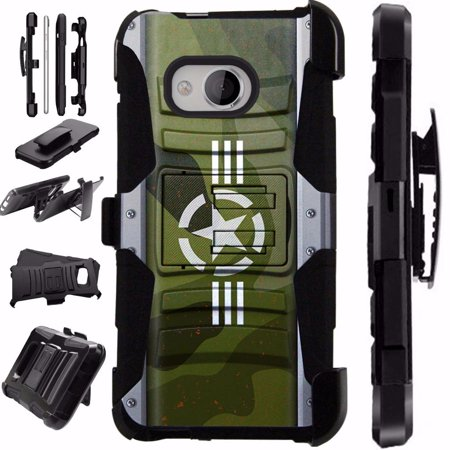 For HTC U11 Life Case / HTC U 11 Life Case Heavy Duty Hybrid Case Silicone Cover Kick Stand LuxGuard Holster (US Army Star)