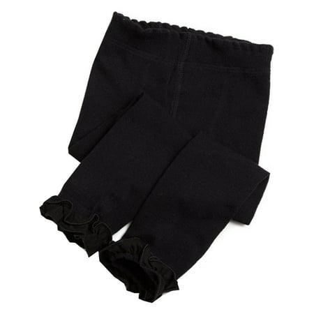 Jefferies Socks Girls Black Ruffle Trim Cotton Footless Tights 6/8