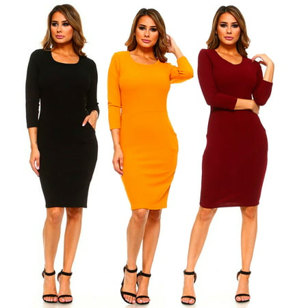Lady's Kangaroo Pocket Solid Bodycon Dress