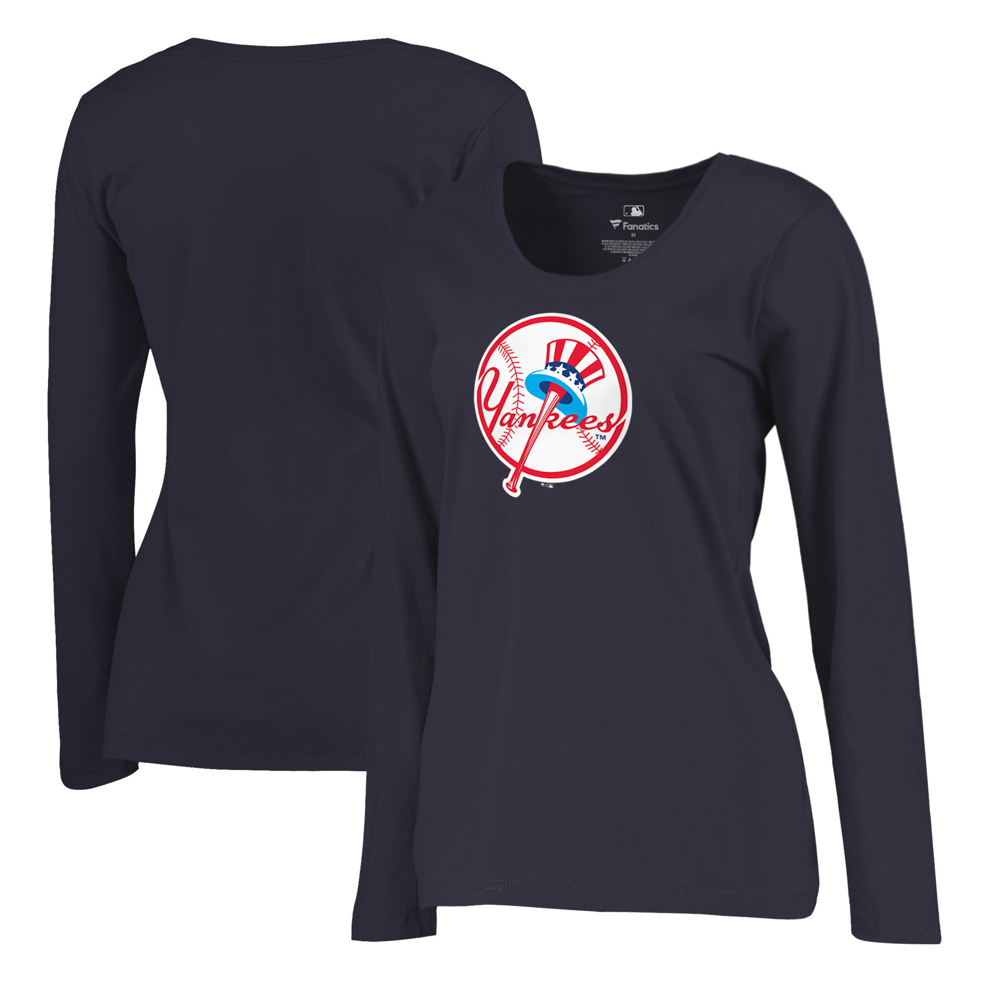 New York Yankees Fanatics Branded Women's Plus Size Cooperstown Collection Forbes Long Sleeve T-Shirt - Navy