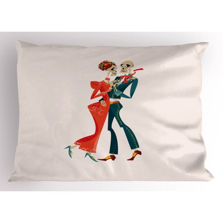 Day of the Dead Pillow Sham Dancing Dead Couple in Folkloric Clothes Culture and Spirituality Theme, Decorative Standard Size Printed Pillowcase, 26 X 20 Inches, Multicolor, by Ambesonne