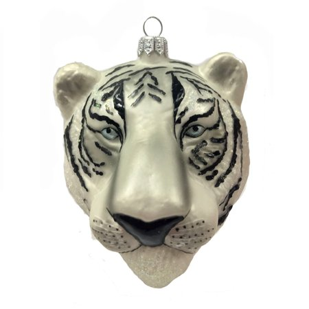 White Tiger Hear Figural Polish Glass Christmas Tree Ornament Wild Cat Animal