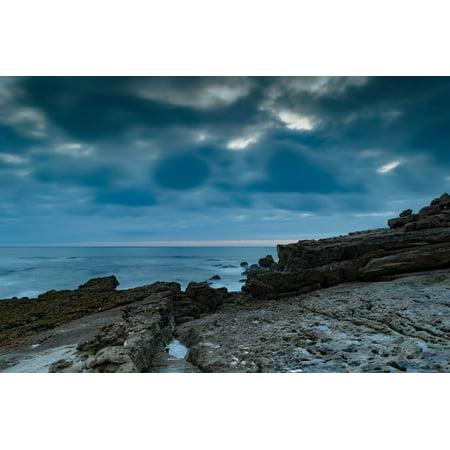 Seaside Rocks - peel-n-stick poster of overcast blue seaside rocks ocean horizon cloudy poster print 24x16 adhesive sticker poster print