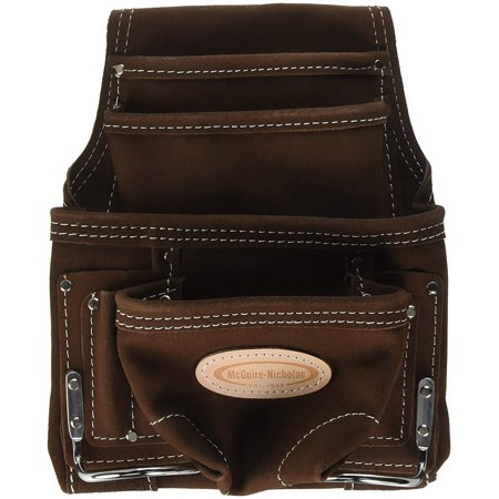 McGuire 10 Pocket Carpenter's Nail and Tool Pouch, Suede Leather
