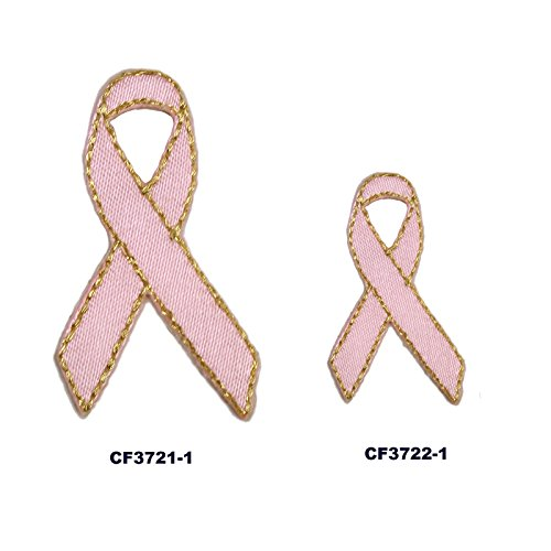 Altotux Self Adhesive Pink Breast Cancer Awareness Ribbon Satin Patch with Metallic Gold Thread Sticker Iron Sew On Applique