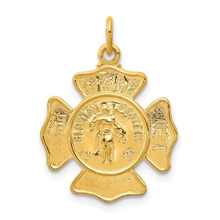 24k Gold-Toned Sterling Silver Saint Florian Fireman's Badge Medal (17mm x - Fireman Badges