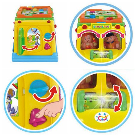 Children Battery Operated Multifunctional Intellectual School Bus, Bump and Go, Music and Light - image 4 of 7