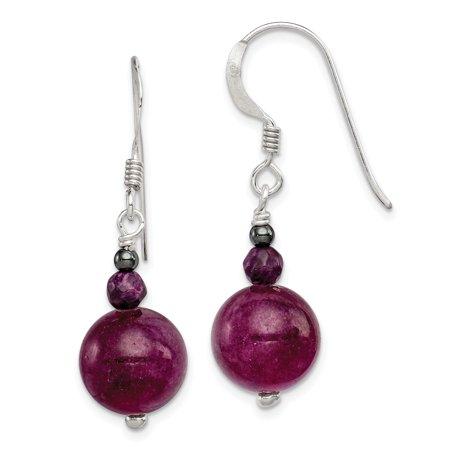 925 Sterling Silver Purple Coral Hematite Jade Drop Dangle Chandelier Earrings Jade Purple Earrings