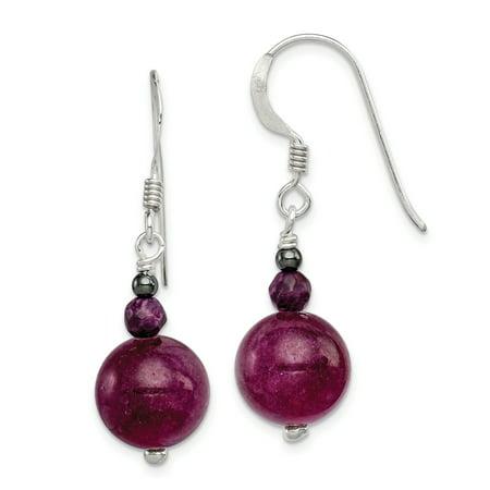 Purple Jade Drop - 925 Sterling Silver Purple Coral Hematite Jade Drop Dangle Chandelier Earrings Gifts For Women For Her
