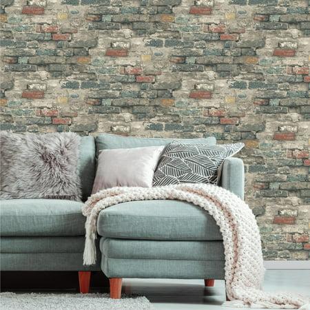 RoomMates Brick Alley Peel & Stick Wallpaper - Walmart.com