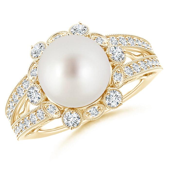 Angara South Sea Cultured Pearl Ring with Floral Halo VrnzPhnI