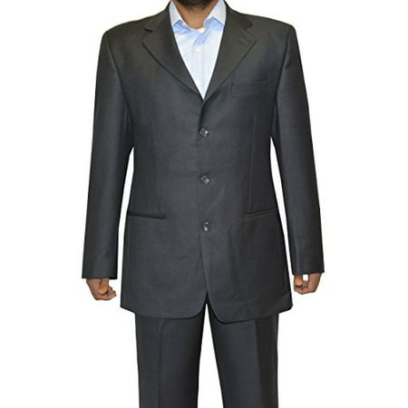 - Royal Cult Mens Wool 3 Button Fashion Slim Fit Suit - Made in Italy (US 44(EU 54), Dark Grey)