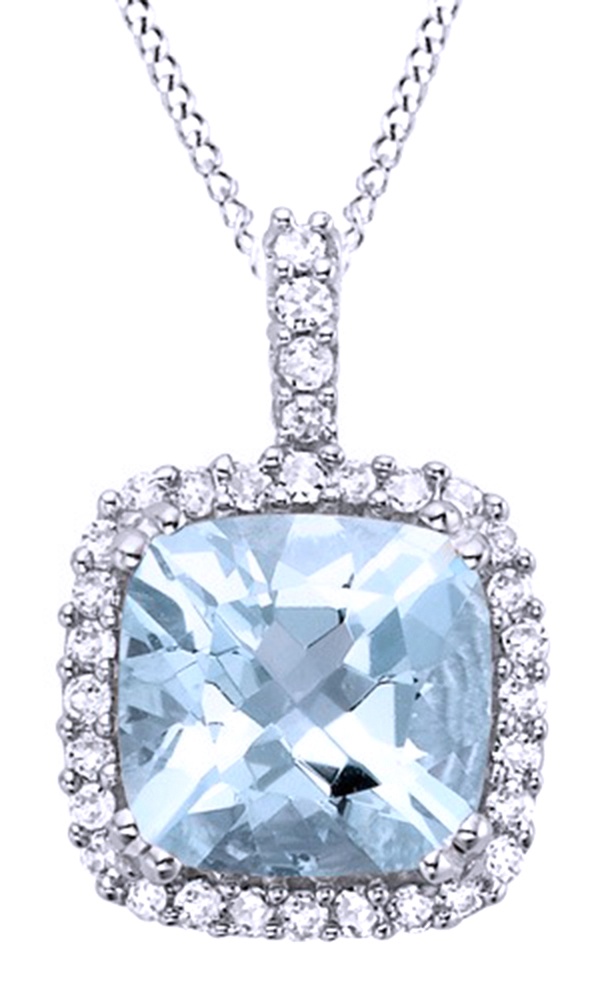 Simulated Aquamarine Cubic Zirconia March Birthstone Birthstone Pendant Necklace 10K Solid Rose Gold by Jewel Zone US