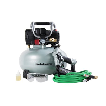 Metabo HPT KNT50ABM 18 Gauge Brad Nailer and Pancake Compressor Finish Combo (Porter Cable Nail Gun And Compressor Kit)