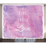 Live Laugh Love Decor Curtains 2 Panels Set, Dreamy Watercolors Brushstrokes with Positive Quote, Window Drapes for Living Room Bedroom, 108W X 90L Inches, Light Pink Lavander White, by Ambesonne
